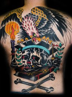 Old School Eagle Skull and Crossbones Tattoo by Martin Lacasse