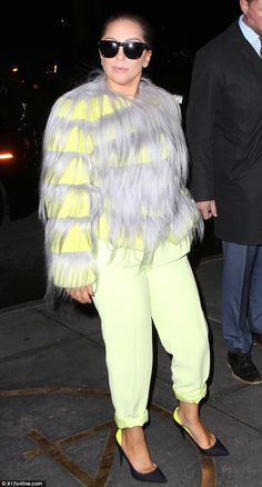 Hairy: The 28-year-old pop star sported a thick lime green sweater covered in grey hair th...