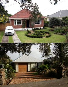Street view before and after comparison – the whole brick veneer was removed (bricks reused on drive and elsewhere) and the roof tiles were replaced with corrugated Colorsteel Roof Tiles, Home Reno, Bricks, Case Study, New Homes, Study Architecture, Street View, Houses, House Exteriors