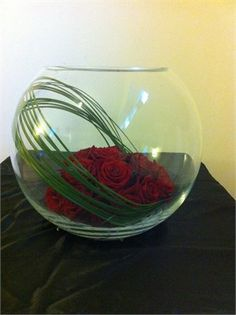 simple red roses in bubble bowl