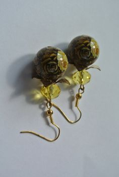 Yellow Rose Earrings, Browns and Golds, Antique Gold, Gorgeous Gold Tone earrings, Dangle Earrings, Rose Jewelry, Painted Beads by Carramela on Etsy