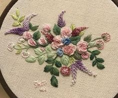 Bullion Embroidery, Brazilian Embroidery Stitches, Hand Embroidery Videos, Embroidery Hoop Art, Embroidery Techniques, Cross Stitch Embroidery, Floral Embroidery Patterns, Hand Embroidery Flowers, Silk Ribbon Embroidery