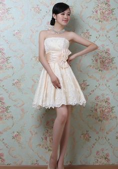 Clearance : Champagne evening elegant embroidery lace dress GHL0009
