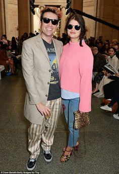 Fashion friends: Pixie Geldof and Nick Grimshaw pose for snaps at the Topshop Unique LFW s...