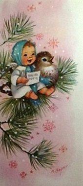 Sweet Little Christmas Angel ~ Vintage Christmas Card.