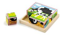 Farm Animals Wooden Cube Puzzle