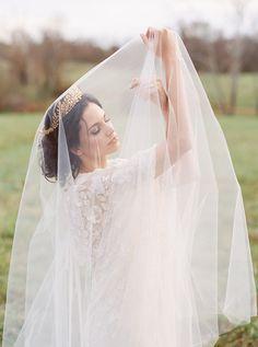 Romantic Drop Veil Bridal Portrait | Shannon Moffit Photography