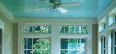 Haint blue ceiling - in the keys, they paint their porch ceilings blue like water to keep the ghosts out