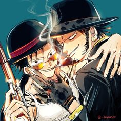 Luffy and Law One Piece Ship, Trafalgar Law, Monkey D Luffy, One Piece Anime, Fujoshi, Aesthetic Art, Mafia, Badass, Besties