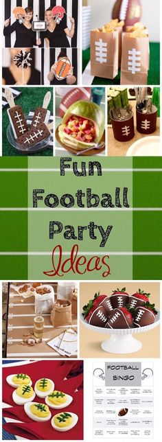 Fun football party ideas - even for non-football fans! Kick off the start of the season with a fun football party! These themed treats, decor and games will make the party a blast, even for non football fans! Football Party Foods, Football Tailgate, Football Themes, Football Birthday, Tailgate Food, Football Food, Football Season, Football Parties, Football Draft Party