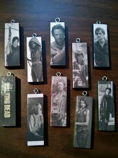 I handmade a set of 10 The Walking Dead ornaments for Christmas...they have funny sayings on the back that kinda relate to the diff characters. They were such a hit I now am getting orders for them! This is a great gift idea for The Walking Dead fan in your life. These are wood, painted, decoupaged and then sealed with couple poly coats to protect them.