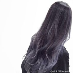 Ombre in Soft Black Grey Violet - All For Hair Color Balayage Hair Dye Colors, Ombre Hair Color, Hair Color Balayage, Cool Hair Color, Purple Hair, Korean Hair Color, Dye My Hair, Aesthetic Hair, Grunge Hair