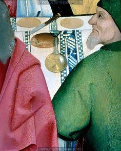 Tablecloth.  detail from Letztes Abendmahl: Kunstwerk: Temperamalerei-Holz ; Einrichtung sakral ; Flügelaltar ; Meister des Schottenaltars ; Wien ; Mt:26:020-029 , Mk:14:017-025 , Lk:22:014-023 , Jo:13:001-14:031  Dokumentation: 1469 ; 1480 ; Wien ; Österreich ; Wien ; Schottenstift  Anmerkungen: Wien Schottenstift ; Schottenaltar