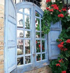 Totally divine window and shutters - wall mirror, decorative wall mirrors Window Mirror, Window View, Wall Mirrors, Through The Window, Through The Looking Glass, Old Windows, Windows And Doors, Shutter Wall, Shutter Doors