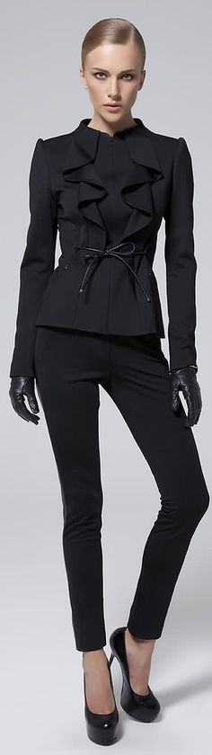 Simple black pants with detailed fitted jacket makes this outfit a winner!