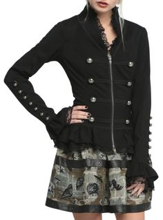 Black jacket with military-inspired details, lace ruffle trim and front zipper closure.