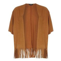 Tan fringe suedette cardigan ($32) ❤ liked on Polyvore featuring tops, cardigans, jackets, outerwear, dorothy perkins, fringe cardigan, fringe top, tan cardigan and brown fringe top