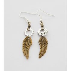Steampunk Earrings Wing Earrings Wings Earrings Steampunk Jewelry Gear... ($23) ❤ liked on Polyvore featuring jewelry, earrings, accessories, decorative combs, hair accessories, silver, dangle charms, steam punk jewelry, steampunk charms and earring jewelry