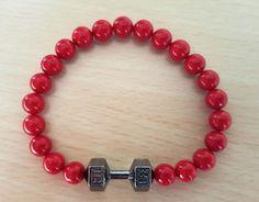 FitLife Pulsera Mancuerna Plata Gimnasio gym Fit Fitness Bracelet Cristal Rojo