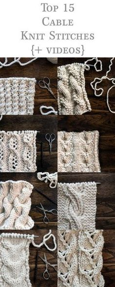 Top 15 Cable Knit Stitches eBook {+videos} Basic Knitting for Beginners So, you-ve decided it-s time Knitting Stiches, Easy Knitting, Knitting For Beginners, Loom Knitting, Knitting Patterns Free, Knit Stitches, Stitch Patterns, Crochet Patterns, Vogue Knitting