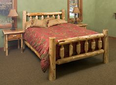 cedar log bed kits headboard only: log bed frame country western rustic