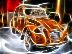 2CV art • 2CV on fire • Citroen 2CV 'duck'