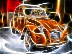 2CV art • 2CV on fire • Citroen 2CV 'duck'