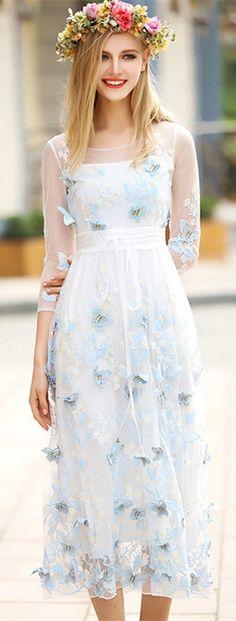 Light Blue Butterfly Illusion Dress