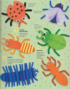 Pipe cleaner bug crafts - great craft for kids Kids Crafts, Summer Crafts, Toddler Crafts, Projects For Kids, Craft Projects, Craft Ideas, Insect Crafts, Bug Crafts, Paper Crafts