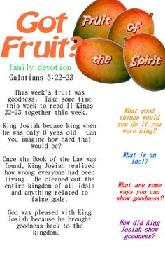 Printable Sunday School lesson that goes with Fruit of the Spirit goodness or idols. Good for family devotion also