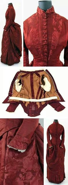 Walking dress 1885 with sewn in bust enhancers.