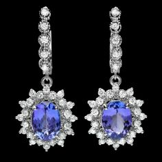 14k Gold 5ct Tanzanite 1.60ct Diamond Earrings : Lot 194C