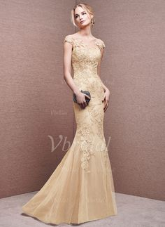 Evening Dresses - $191.45 - Trumpet/Mermaid Scoop Neck Sweep Train Tulle Evening Dress With Appliques Lace (0175099410)