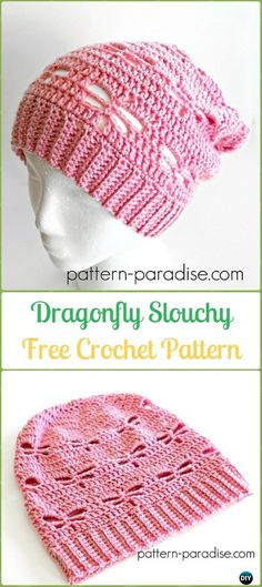 Crochet Dragonfly Slouchy Free Patterns -Crochet Slouchy Beanie Hat Free Patterns