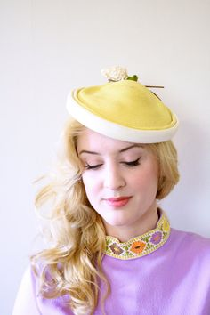 vintage 1960s hat / 60s yellow straw hat with by CenturyGirl