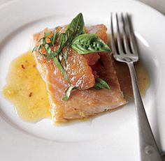 Roasted Salmon with Shallot-Grapefruit Sauce #recipe