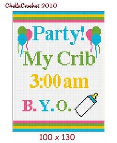 Baby Party My Crib Afghan Crochet Pattern Graph for sale