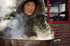Roasted chestnuts is a street food favorite come wintertime in Seoul.