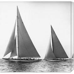 This hand crafted stretched canvas of Edwin Levick, 'Sailboats in the America's Cup, 1934' is a museum quality reproduction of the original work. Shipped to you finished and ready-to-hang, it is a wel