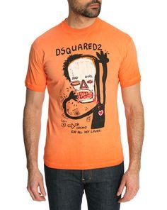 Washed Orange Dean Fit Basquiat Tshirt DSQUARED