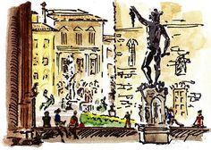 Sketching Italy Florence Palazzo Vecchio Piazza' - http://irina-sztukowski.artistwebsites.com/featured/sketching-italy-florence-palazzo-vecchio-piazza-irina-sztukowski.html