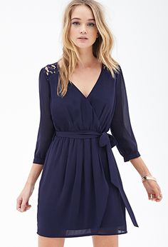 Chiffon & Lace Surplice Dress | FOREVER21 - 2000103527