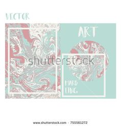 Marbled pink and mint modern abstract background. Liquid marble pattern. Vector fluid texture. Business template design