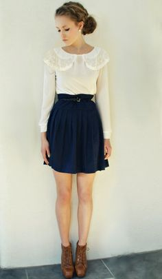 White round collar blouse, navy skirt, caramel ankle boots