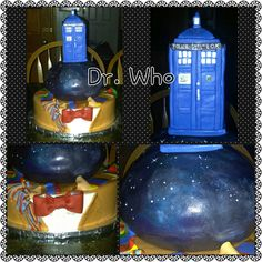 """An anniversary cake for 2 Big Dr. Who fans. Bottom tier is strawberry cake with real strawberries and lemonade frosting, the middle is chocolate cake with dark chocolate frosting, the top tier is a rice krispie treat """"TARDIS""""."""