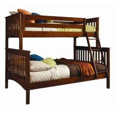 Bolton Furniture Woodridge Mission Twin Over Full Bunk Bed (€940) ❤ liked on Polyvore featuring home, children's room, children's furniture and oak