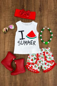 """""""I Love Summer"""" Watermelon Pom Pom Shorts Set from Sparkle in Pink Cute Baby Girl Outfits, Cute Outfits For Kids, Toddler Girl Outfits, Baby Girl Fashion, Toddler Fashion, Kids Fashion, Toddler Girl Style, Toddler Girls, Baby Kids Clothes"""