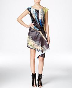 Rachel Rachel Roy Printed Asymmetrical Sheath Dress