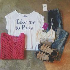 Y si hoy me llevas a París?  ♡ Sweater Nemesis ♡ Remera Paris ♡ Top Vic ♡ Jegging Batik ♡ Gaudi Vip  #sofiadegrecia #fashion #Style