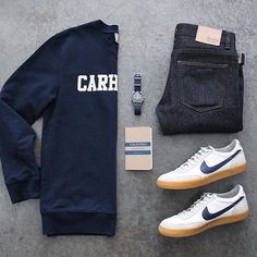 Navy blue...always a good go to!! Outfit by:camera:: @awalker4715 Follow for more: @votrends :white_check_mark: ____________________________________________ Denim: @sosobrothers Sweatshirt: @carharttwip Shoes: @nike x @jcrewmens Notebook: @calepino #flatlay #flatlays #flatlayapp www.theflatlay.com
